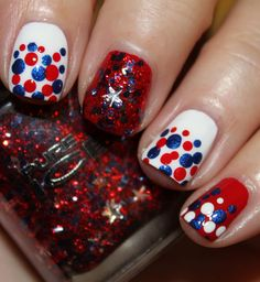 Fourth of July Mani using Pure Ice Stars & Stripes and Zoya Song.  www.vampyvarnish.com