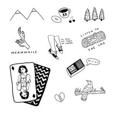 "twin peaks tattoo sheet. Really want the ""meanwhile"" one."