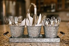 H & K Designs - Silverware Picnic Caddy - Farmhouse Decor, Galvanized Metal Planter with Wooden Handles and 3 Buckets - Rustic Tray Set Organizer Galvanized Planters, Galvanized Decor, Metal Planters, Galvanized Metal, Silverware Caddy, Black Countertops, Metal Trays, Farmhouse Decor, Farmhouse Style