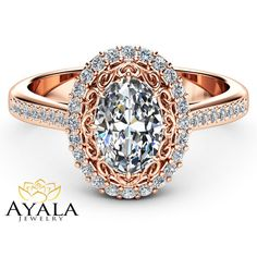 Halo Moissanite Engagement Ring 14K Rose Gold by AyalaDiamonds