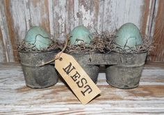 Primitive Country Farmhouse Galvanized Bucket NEST Tag with EGGS Spring Easter in Primitives | eBay