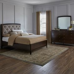 <p>Featuring elegant tapered legs and a dramatically upholstered bed with deep button tufting, this furniture set stylishly finishes off the look of your bedroom.</p><ul><li>rubberwood and MDF construction with cherry veneers</li><li>dark mink finish</li><li>bed frame and accent furniture feature glued dowel, rod and cleat joinery