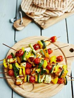 Greek Vegetable Kebabs: lovely charred veggies that would be delish with Daiya Havarti (vegan).