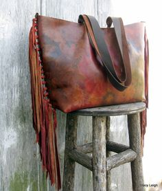Leather Flower Tote with Hand Knotted Fringe by by stacyleigh