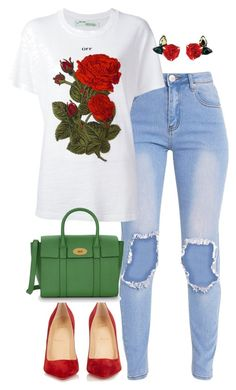 """""""color love❤"""" by nana-jeje ❤ liked on Polyvore featuring Off-White, Christian Louboutin and Mulberry"""