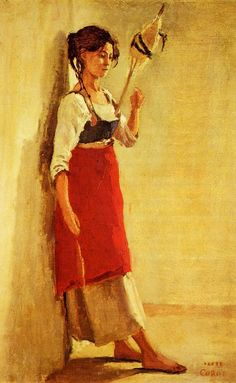 Young Italian Woman from Papigno with Her Spindle - Jean-Baptiste-Camille Corot