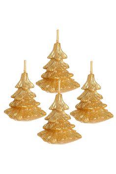4 Bougies dorées sapin de Noël - Tati