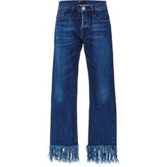 3X1 Denim Cropped Jeans with Frayed Fringed Hems ($295) ❤ liked on Polyvore featuring jeans, wide leg blue jeans, frayed jeans, frayed hem jeans, 5 pocket jeans and cropped jeans