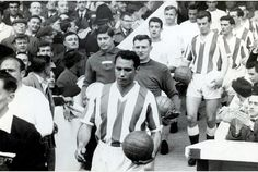 Stoke City v Real Madrid, Eddie Stuart and Alfredo di Stefano lead out the teams in the centenary match Stoke City Fc, Football Players, Real Madrid, 1970s, Archive, Number, Couple Photos, Sports, Image