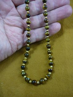 16 inch long Brown tan tiger's eye tiger-eye round and gold Beads bead beaded Necklace jewelry V311-5
