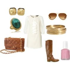 perfect outfit. Love the golds, browns and white outfit