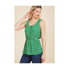 Darling Mid-length Sleeveless Lively Workplace Sleeveless Top ($45) ❤ liked on Polyvore featuring tops, apparel, green, sleeveless woven, woven top, flower print tops, green sleeveless top, sleeveless tops and green floral top