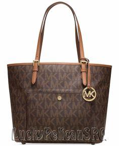 Michael Kors Jet Set MK Signature Large  PVC Snap Pocket Tote Bag Brown NWT #MichaelKors #TotesShoppers
