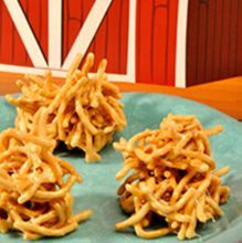 Peanut Butter Butterscotch Haystacks...grandma Tobin makes these in a chocolate form, idk if she could adapt it to be a lighter color to look like haystacks?