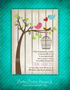 Birds and Bird Houses Baby Shower Invitation by PartyPopInvites