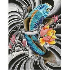 Blue Koi by English Tattoo Art Canvas Print. English, AKA Leigh Stimpson, is proprietor of Emerald Tattoos in the UK. She is amongst the growing population of female tattoo artists. All of her tattoo art is freehand since she feels that tattoo transfers are too limiting for her art.