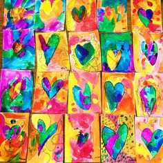 This colorful heart art project is great for all ages and is perfect for a fun and colorful Valentine's Day art project. This colorful heart art project is great for all ages and is perfect for a fun and colorful Valentine's Day art project. Kindergarten Art, Preschool Art, Valentines Art For Kids, Valentines Art Lessons, Grade 1 Art, Winter Art, Heart Art, Heart Kids, Art Classroom
