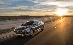 Download wallpapers Hyundai Sonata, 4k, road, 2018 cars, motion blur, new Sonata, Hyundai