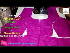 Three Pieces, Princess Cut Blouse Drafting, Princes Cut Blouse Cutting and Stitching Blouse Back Neck Designs, Blouse Designs, Sleeve Designs, Blouse Styles, Girls Dresses Sewing, Dress Sewing Patterns, Prince Cuts, Princess Cut Blouse Design, Blouse Tutorial