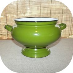 Vintage 60s AVOCADO Green Enamelware Soup Tureen by IntrigueU4Ever,