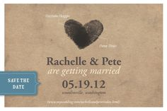 Save the Dates w/ Thumb-printed hearts