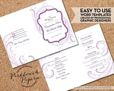 Wedding Program - Frame and Flourish - plum - DIY Editable Word Template Instant Download Printable Edit your text & Print at Home