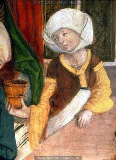 Geburt Mariens       Dieses Bild: 012355      Kunstwerk: Temperamalerei-Holz ; Einrichtung sakral ; Flügelaltar Fragment ; Slowakei   Dokumentation: 1495 ; 1505 ; Presov ; Slowakei ; Kirche St. Nikolaus