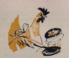 Chicken making pancakes