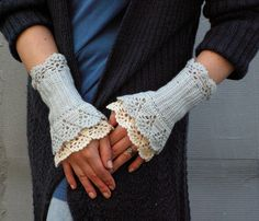 delicate and lovely :: First Chill crocheted lacy wrist warmers by hypericumfragile