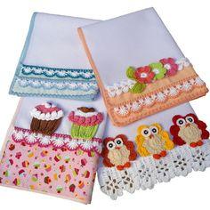 4 Panos de Prato Copa Coruja Cupcake Flores Crochê Pot Holders, Napkins, Tableware, Dish Towels, Crochet Cupcake, White Plates, Crochet Fruit, Appliques, Jute