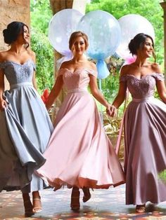 Ankle length bridesmaid dresses off shoulder appliques a line country garden beach wedding guest gowns plus size maid of honor dress 2019 maid of honor Off Shoulder Bridesmaid Dress, Pastel Bridesmaid Dresses, Off Shoulder Evening Dress, Beautiful Bridesmaid Dresses, Bridal Dresses, Pastel Dresses, Shoulder Dress, Bridal Gown, Pretty Dresses