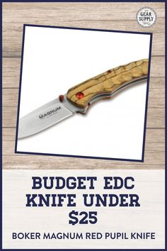 In need of a Budget EDC knife under $25 for your collection? Try the Boker Magnum Red Pupil Linerlock Pocket Knife with a Zebrawood handle for your urban everyday carry gear. Take advantage of this money-saving deal on everyday carry premium pocket knives while supplies last! Explore top-rated budget-friendly compact lightweight utility knives and other essential EDC gear at affordable prices from Gear Supply Company. #everydaycarry #edcknives #pocketknives #urbaneverydaycarry Edc Fixed Blade Knife, Edc Knife, What Is Edc, Prepper Supplies, Edc Essentials, Urban Edc, Everyday Carry Items, Edc Bag, Pocket Knives