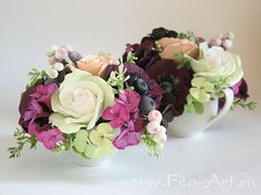 Bouquet with purple anemones in the milkman - Fito-Art.ru