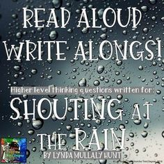 Shouting at the Rain Read Aloud Write Along Distance Learning Writing Classes, Writing Skills, Writing Prompts, Book Club Books, Good Books, Amazing Books, Fish In A Tree, Ela Classroom, Classroom Ideas