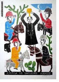 A Missa do Vaqueiro (The Cowboy Mass) by José Francisco Borges Artist At Work, Contemporary Art, Folk, Art Gallery, African, Sculpture, Mermaids, Prints, Indigo
