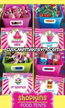 Decorate your Shopkins themed buffet table with these awesome food tents! Fete Shopkins, Shopkins Food, Shopkins Bday, Shopkins Candy Table, 9th Birthday Parties, 8th Birthday, Birthday Ideas, Birthday Cakes, Diy Place Cards