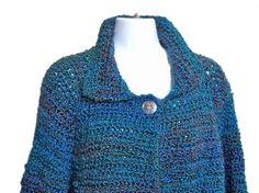 Women Blue Sweater Crochet Size Large Jacket Style by knitwhats, $85.00