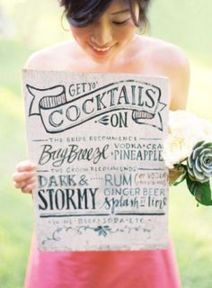 Wedding Stationery Inspiration: Signature Drink Signs | Drink Sign: Julie Song Ink via Style Me Pretty | Photo:  Jose Villa