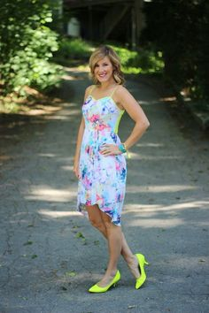 Neon and Watercolor Pleated Dress - Sew Sarah R