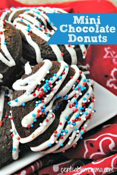 Create these yummy mini chocolate donuts and add frosting stripes and sprinkles to coordinate with the holiday (such as red, white, and blue sprinkles for the 4th of July).