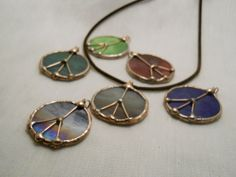 Peace Sign Pendant Green Stained Glass Jewelry by StewArtStuff, $9.95