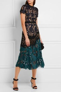 Midnight-blue, teal and black guipure lace Concealed hook and zip fastening at back 99% polyester, 1% cotton; lining: 97% polyester, 3% spandex Dry clean Imported