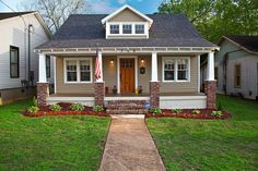 Craftsman Bungalow for a Craftsman Exterior with a Red Brick Pillar and Historic…