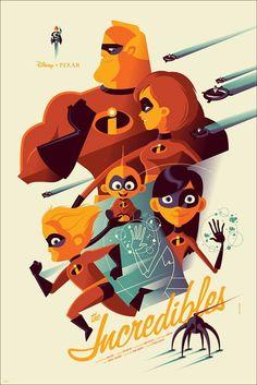 Tom Whalen – The Incredibles Disney Pixar Mondo Poster Print Disney Pixar, Disney E Dreamworks, Disney Amor, Art Disney, Disney Artwork, Disney Love, Disney Magic, Disney Films, Disney Villains
