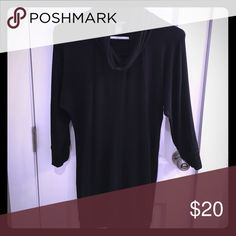 Pea in the Pod maternity sweater top Black super long this would fit any medium or large, some smalls if wearing loose. Super cute over skinny jeans or leggings!! Super soft too. 3/4 length sleeves. Has inside out seam down middle. Few small thread pulls but otherwise a pregnancy favorite! A Pea in the Pod Tops Tunics