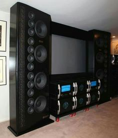 The largest Sound Pro Audio Speakers, Audiophile Speakers, Built In Speakers, Hifi Audio, Home Cinema Room, Home Theater Rooms, Home Theather, Sound Room, Speaker Box Design