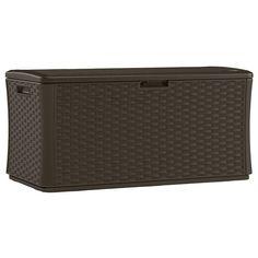 Suncast 134 Gal. Resin Wicker Deck Box 55w x 28 1/2d x 27h 2 at Home Depot in So Elgin 10 at Home Depot in Geneva