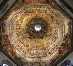 Florence Duomo Ceiling - Florence Cathedral Santa Maria de Fiore - Vasari's fresco from finished by Zuccari 1579 Florence Cathedral, Medieval, Giorgio Vasari, Renaissance Architecture, Classical Architecture, Florence Italy, Florence Dome, Santa Maria, Pilgrimage