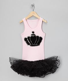 Look what I found on #zulily! Light Pink & Black Crown Tutu Dress - Girls by Bling Diva #zulilyfinds