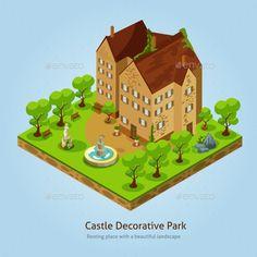 Isometric Castle Landscape Design Concept